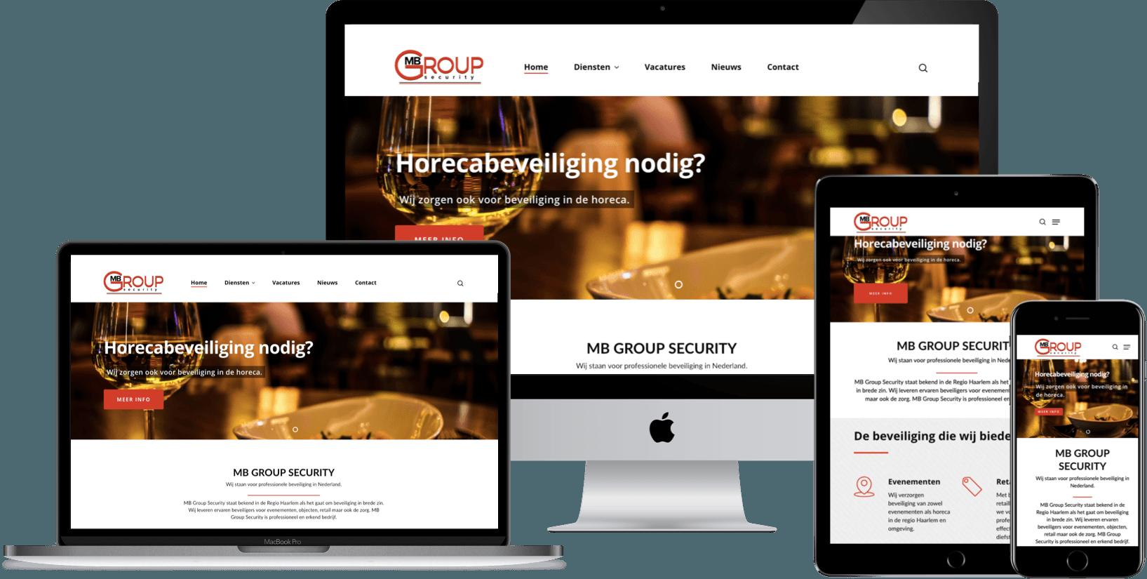 Webdesign beveiligingsbedrijf MB Group Security